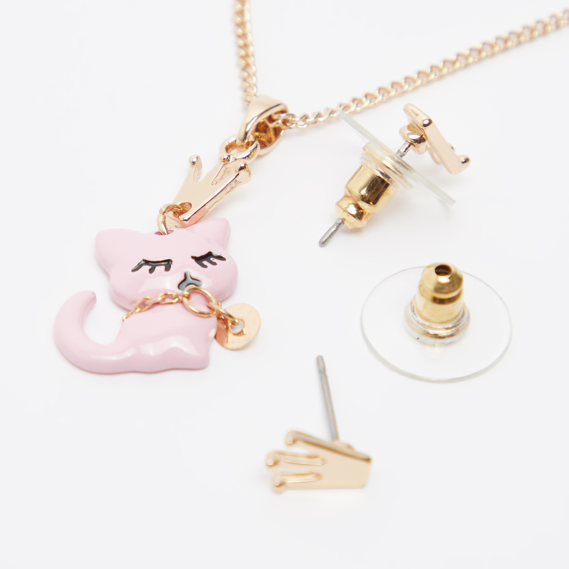 Kitty Pendant Necklace and Earrings Set