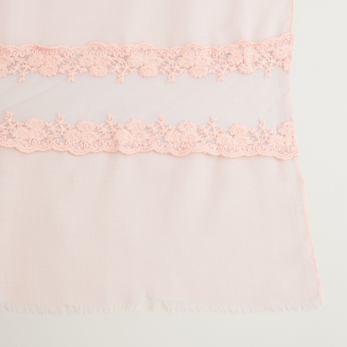 Embroidered Scarf with Fringe Detail