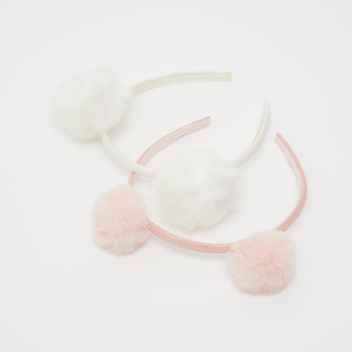 Set of 2 - Pom Pom Detail Hair Band