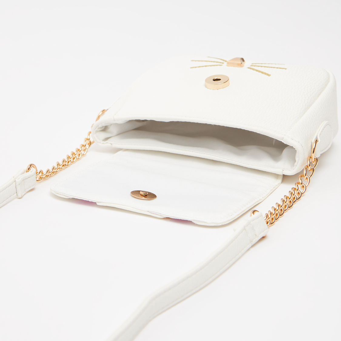 Textured Crossbody Bag with Strap and Magnetic Snap Closure
