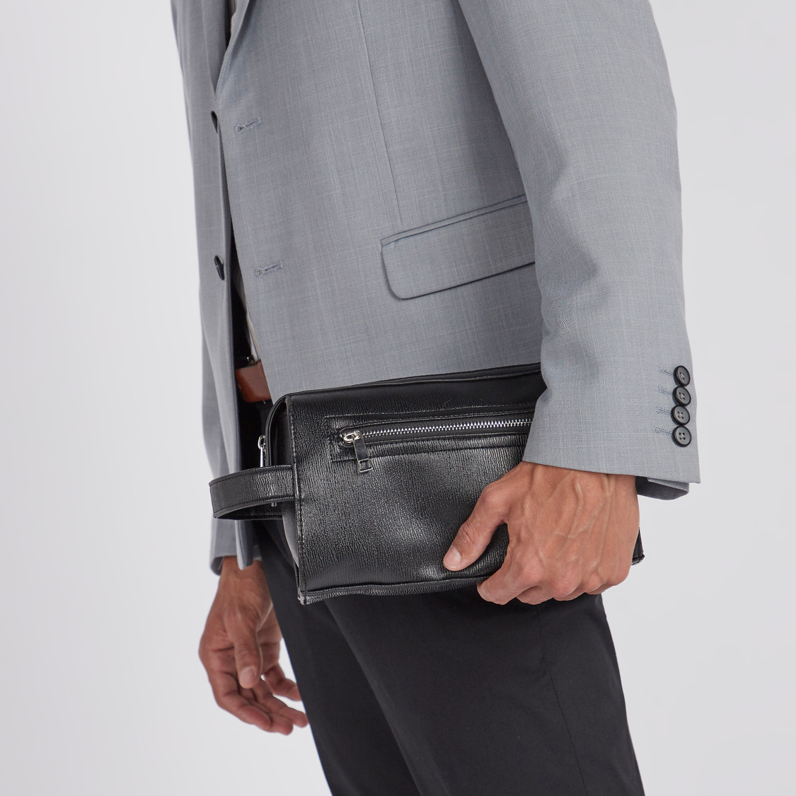 Textured Pouch with Zip Closure and Wristlet