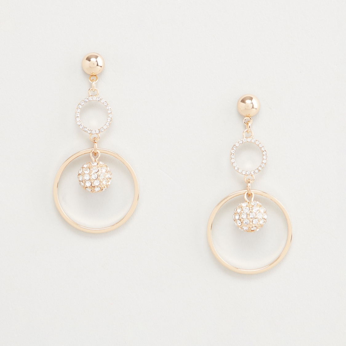 Stud Detail Dangling Earrings with Pushback Closure