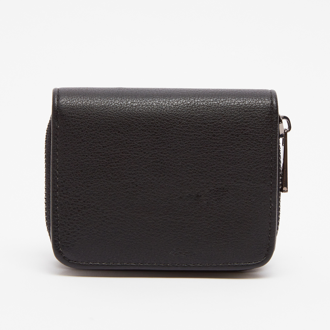 Textured Bi-Fold Wallet with Zip Closure
