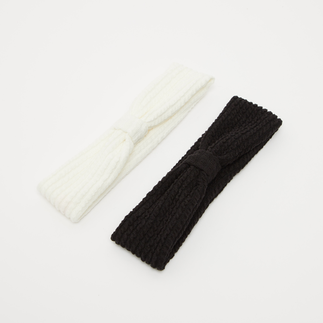 Set of 2 - Textured Headband with Knot Detail