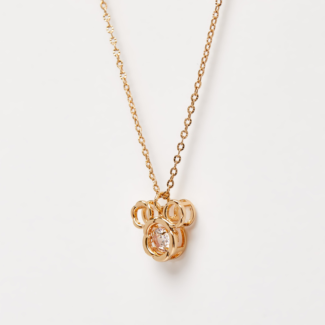 Lobster Clasp Necklace with Stone Studded Mickey Mouse Pendant