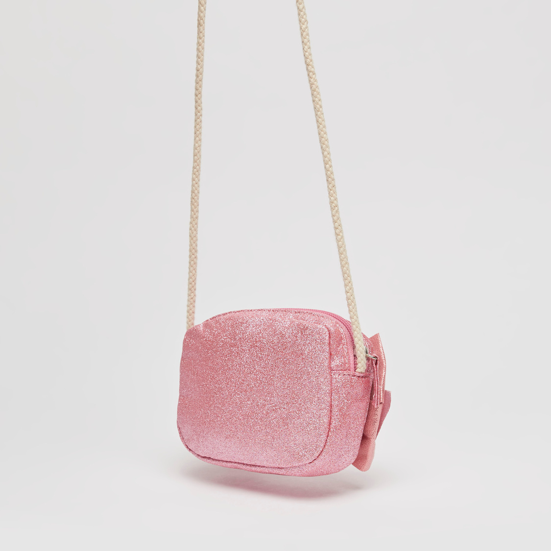 Embellished Crossbody Bag with Strap and Zip Closure