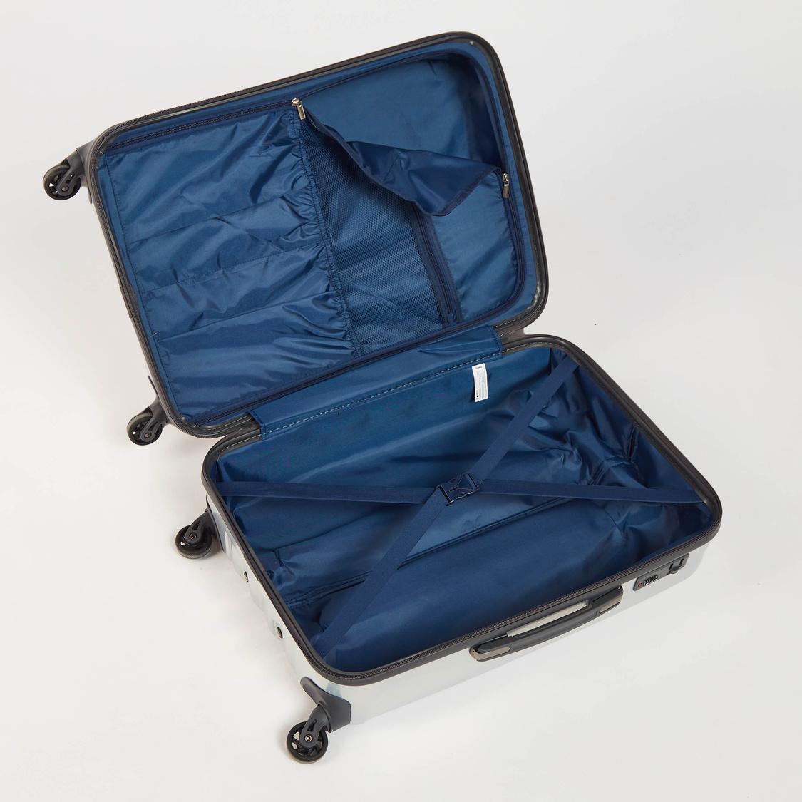 شنطة سفر صلبة سادة بعجلات و مقبض قابل للسحب