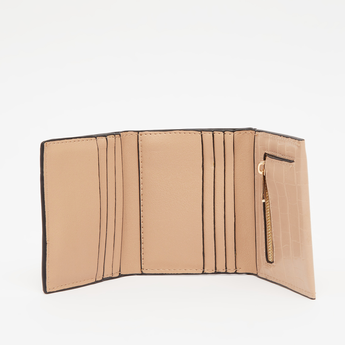 Textured Triple Fold Wallet with Snap Button Closure
