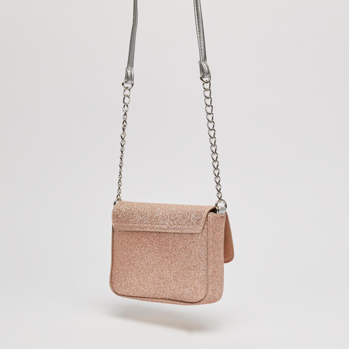 Embellished Crossbody Bag with Metallic Chain