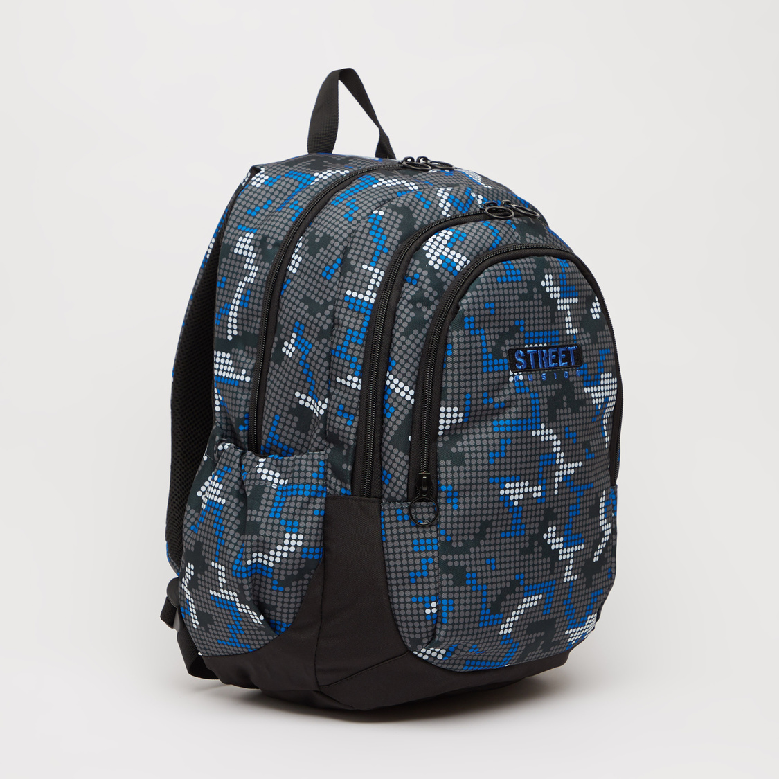 Printed Backpack with Adjustable Straps and Zip Closure - 17 Inches