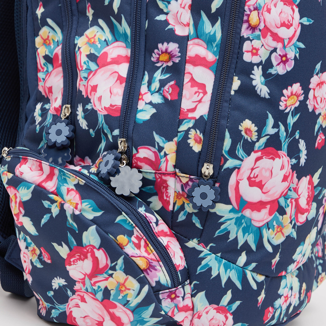 Floral Print Backpack with Adjustable Straps and Zip Closure - 19 Inches