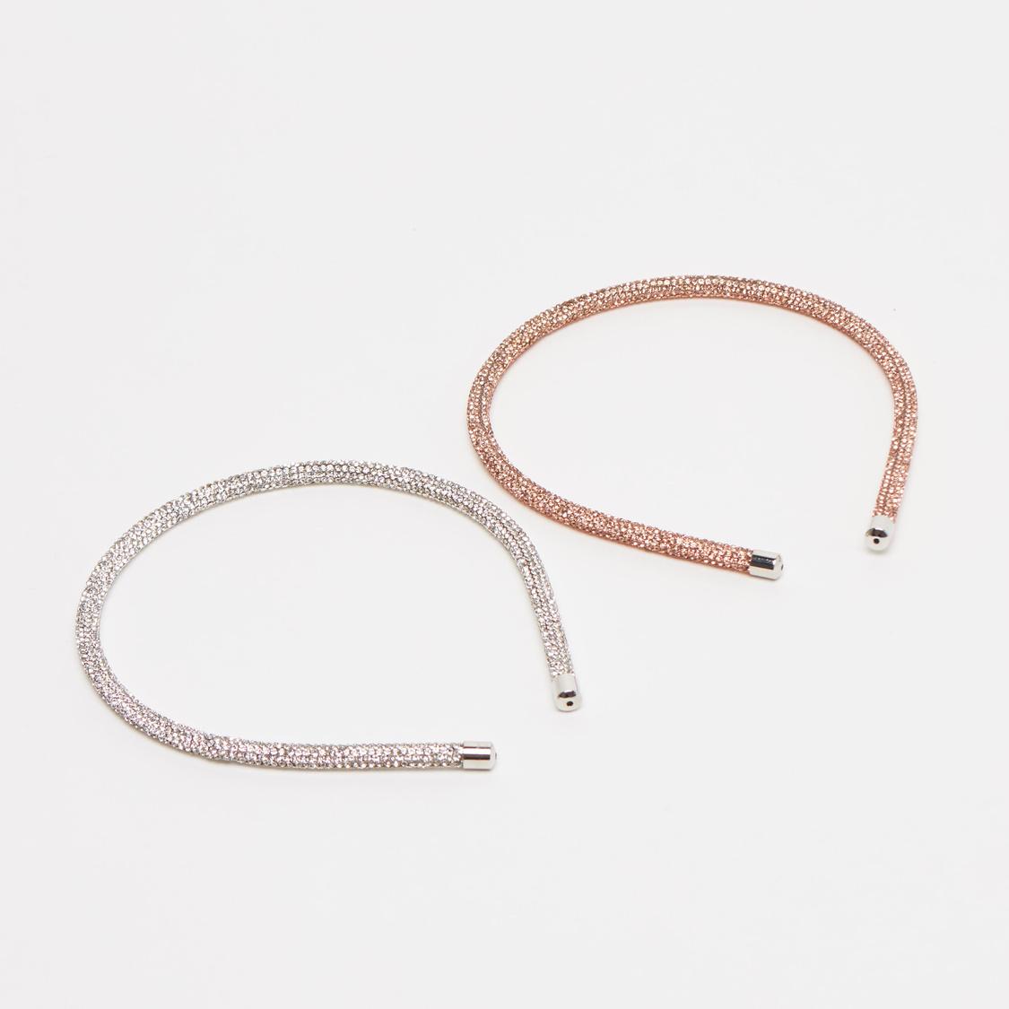 Set of 2 Stone Studded Hairbands