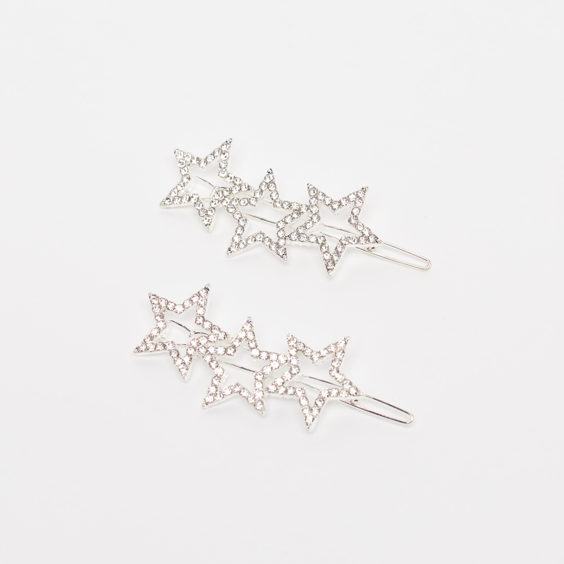 2-Piece Stone Studded Star Shaped Hair Clips
