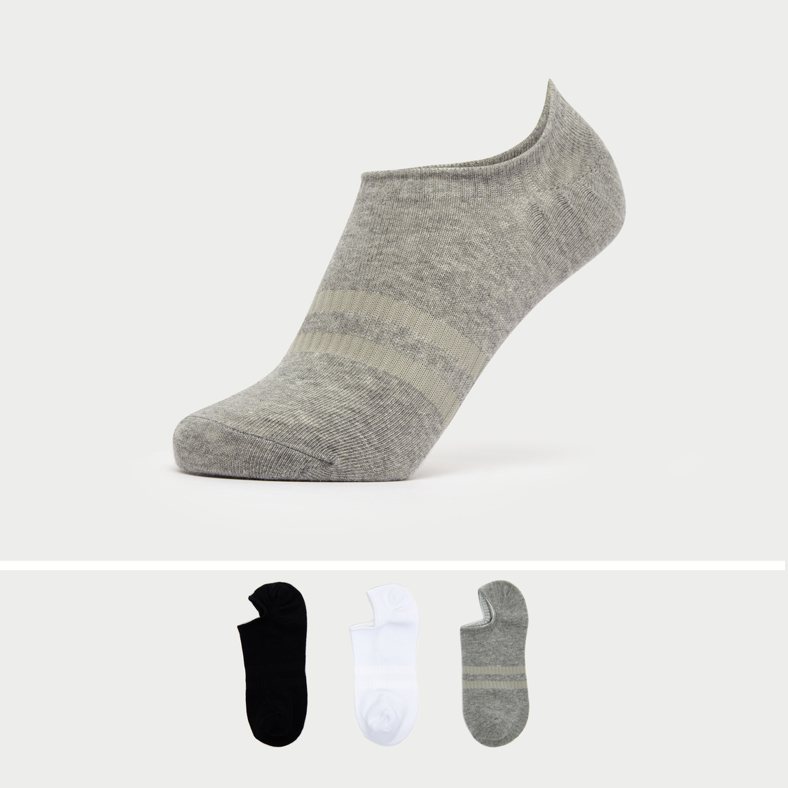 Set of 3 - Textured No-Show Socks