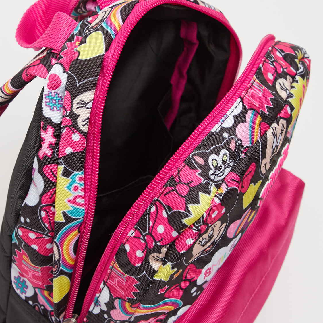 Minnie Mouse Print Backpack with Adjustable Shoulder Straps - 12 Inches