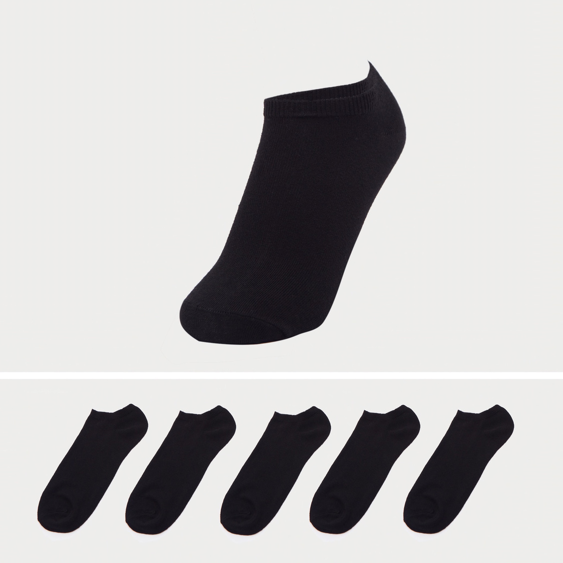 Set of 5 - Solid Ankle-Length Socks with Cuffed Hem