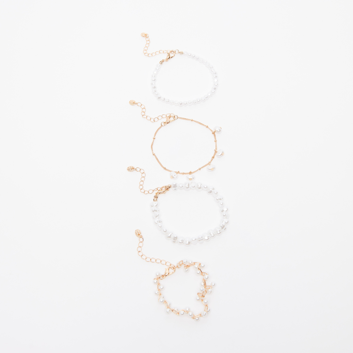 Set of 4 - Pearl Detail Bracelet with Lobster Clasp
