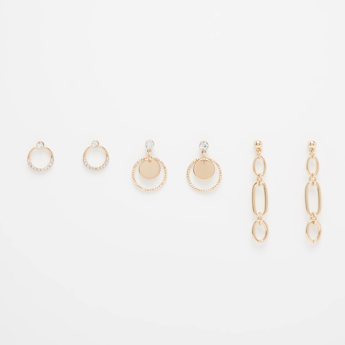 Set of 3 - Stud Detail Earrings with Pushback Closure