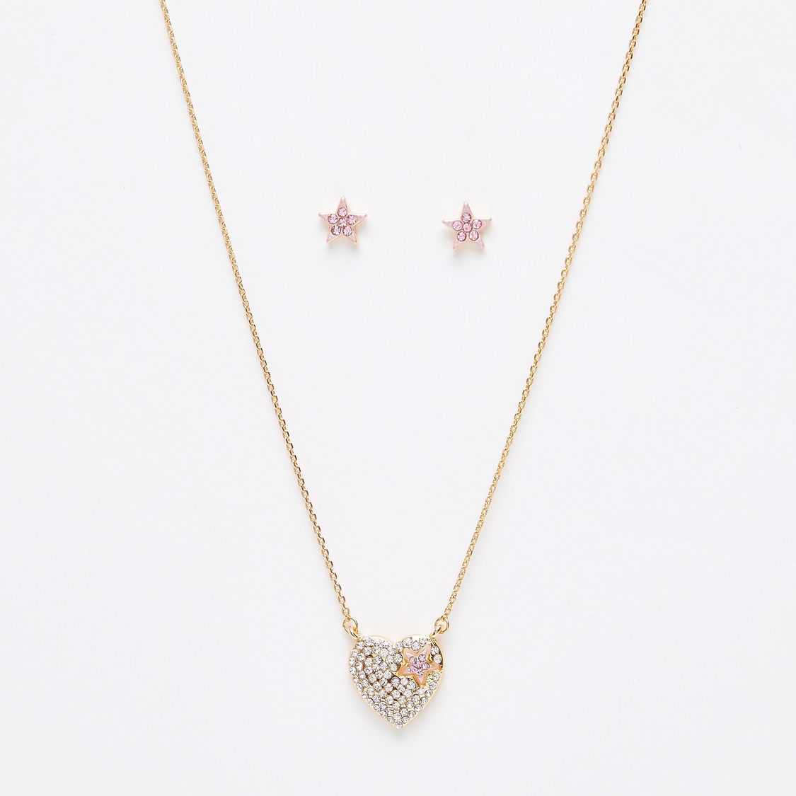 Embellished Pendant Necklace and Earrings Set