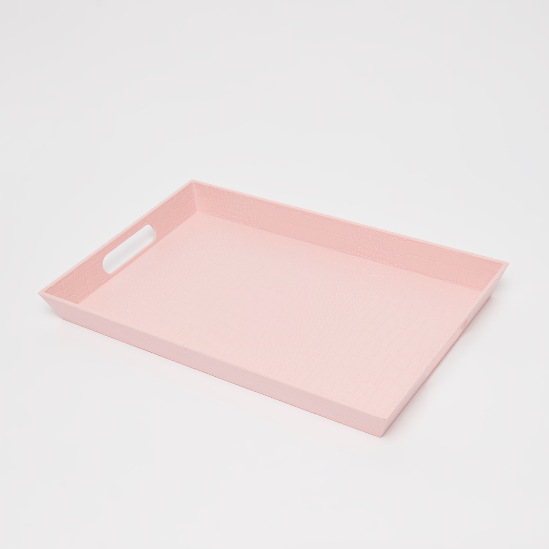 Textured Rectangular Serving Tray with Cutout Handles - 40x27x4 cms