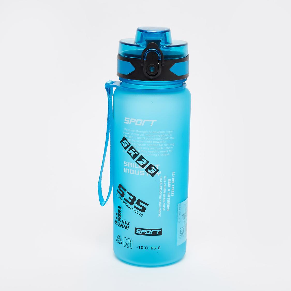 قارورة مياه رياضيّة بطبعات وغطاء فليب ومقبض - 750 مل