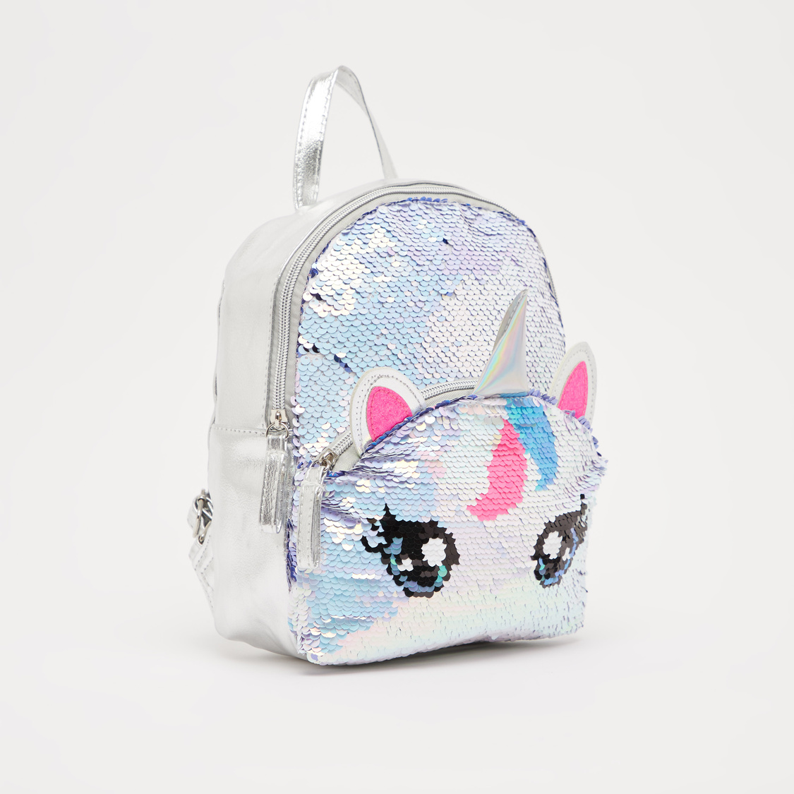 Sequin Detail Backpack with Adjustable Straps and Zip Closure