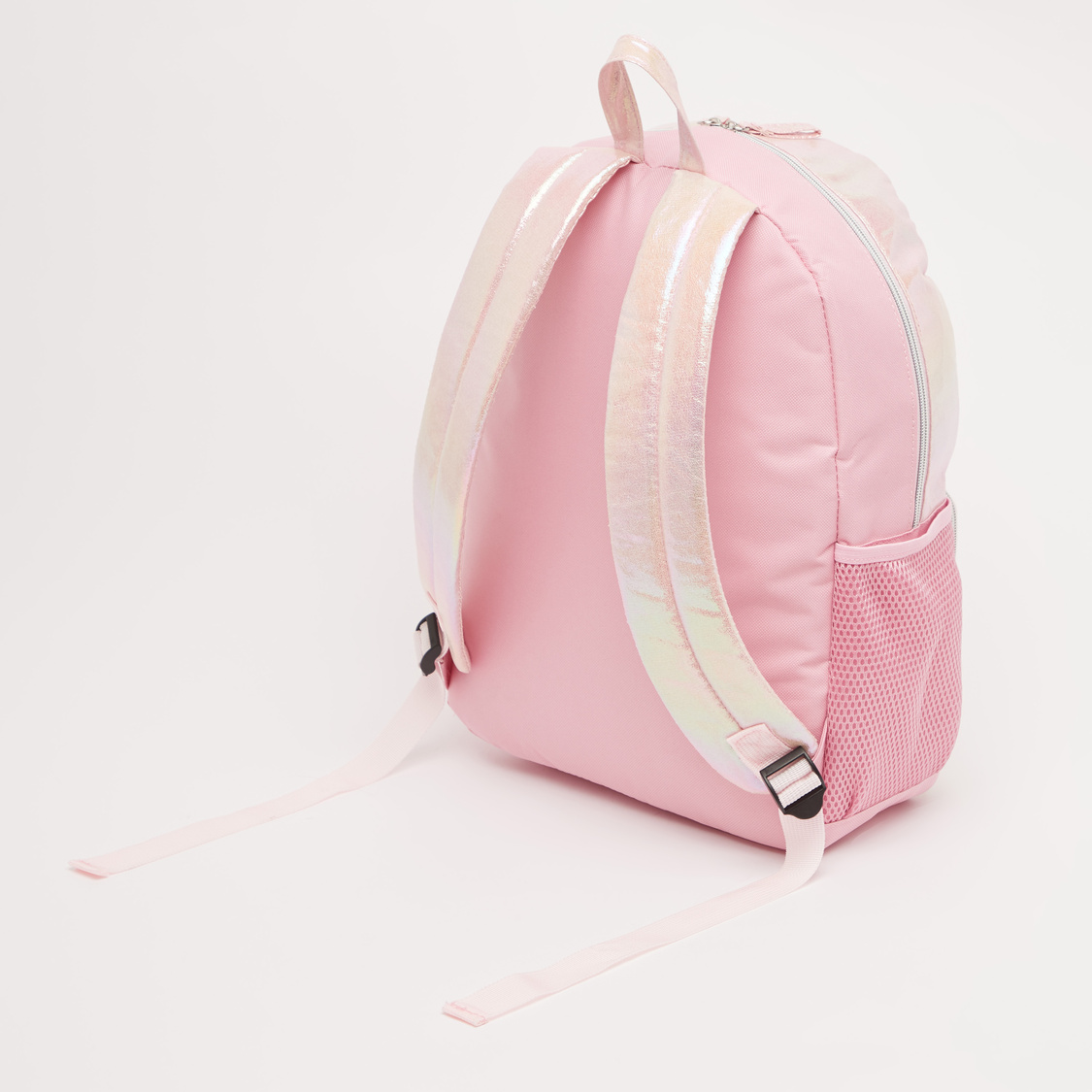 Textured Backpack with Adjustable Straps and Zip Closure - 16 Inches
