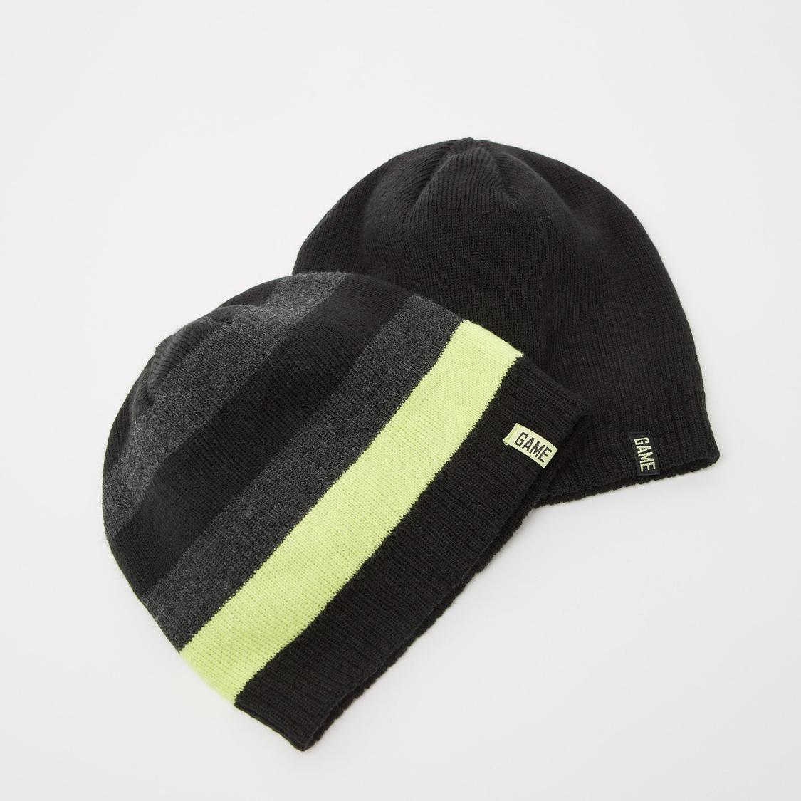 Set of 2 - Assorted Beanie Caps