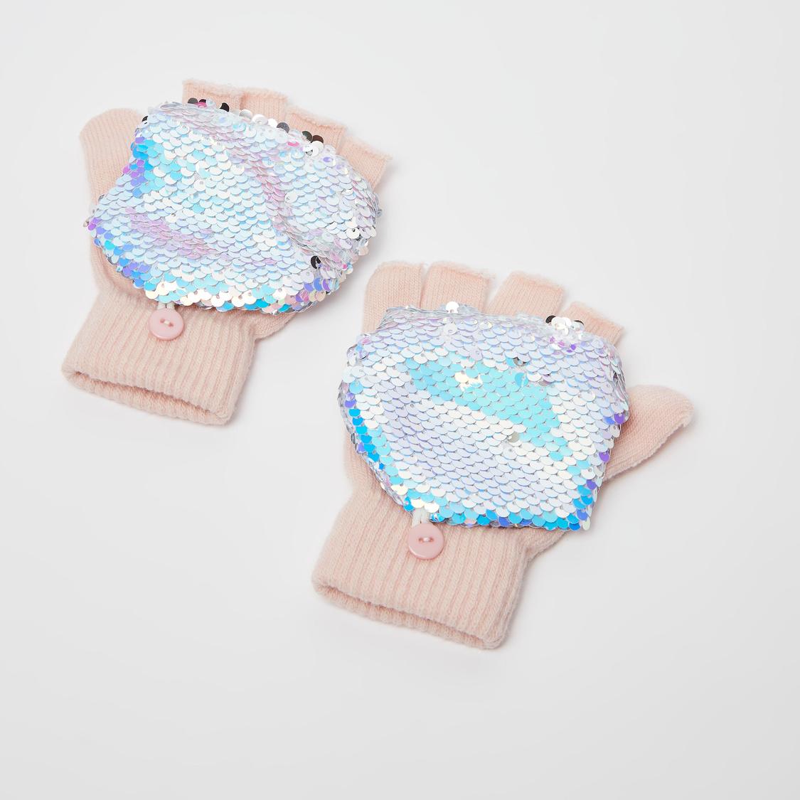 طقم غطاء للأذنين وقفازات مزين بالترتر