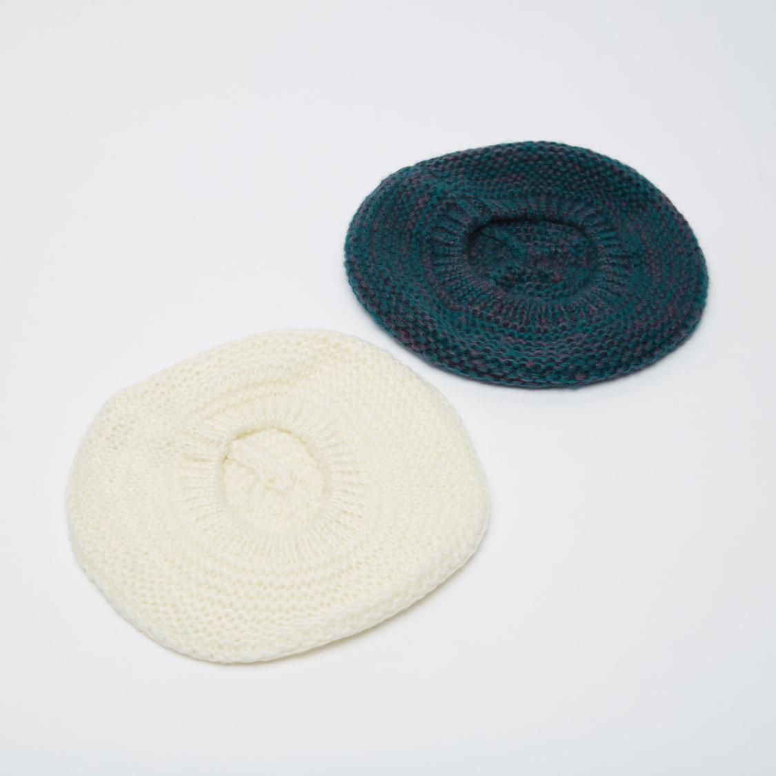 Set of 2 - Textured Woolen Beret
