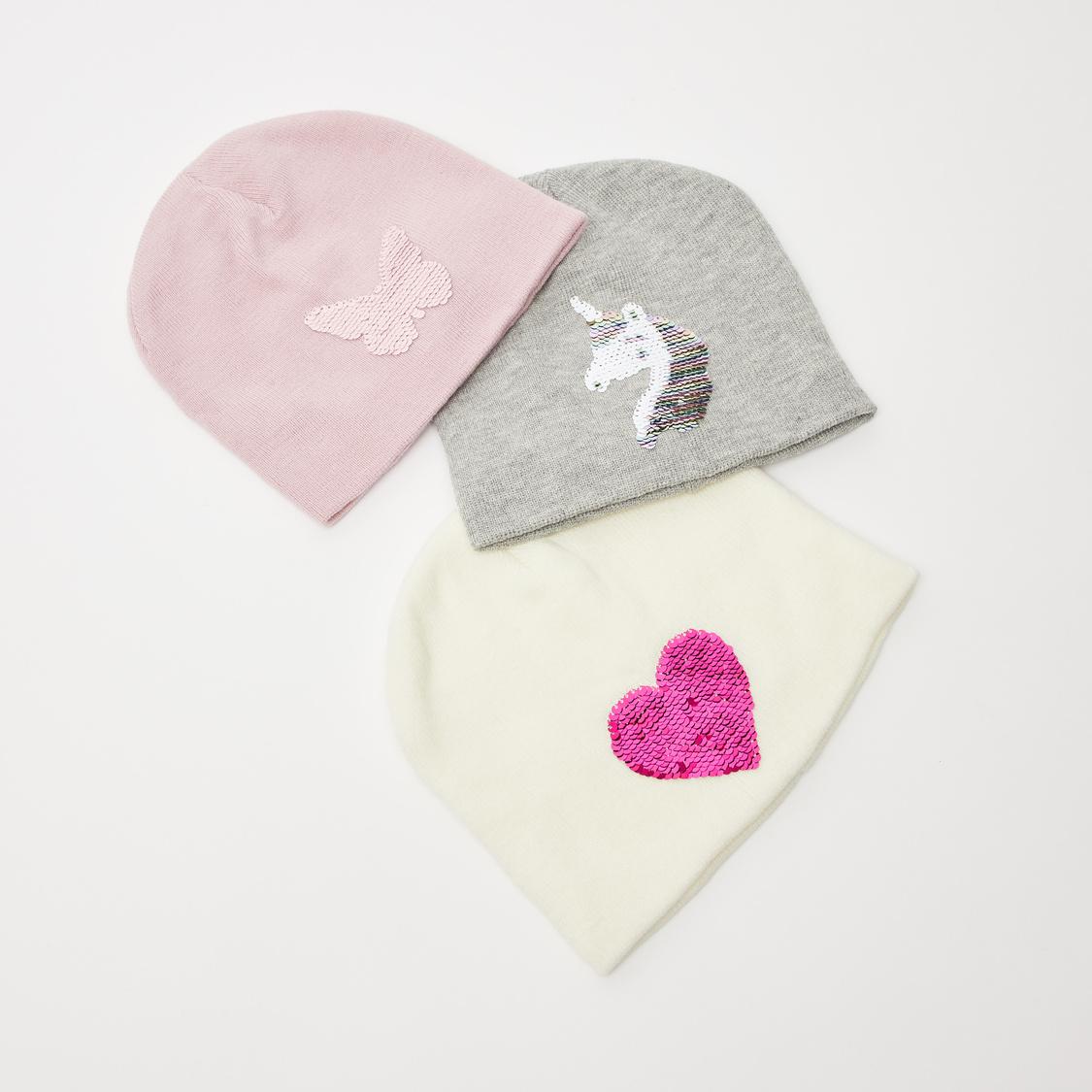 قبعة بيني مزيّنة بتفاصيل ترتر وبحافة مطاطية - طقم من 3 قطع
