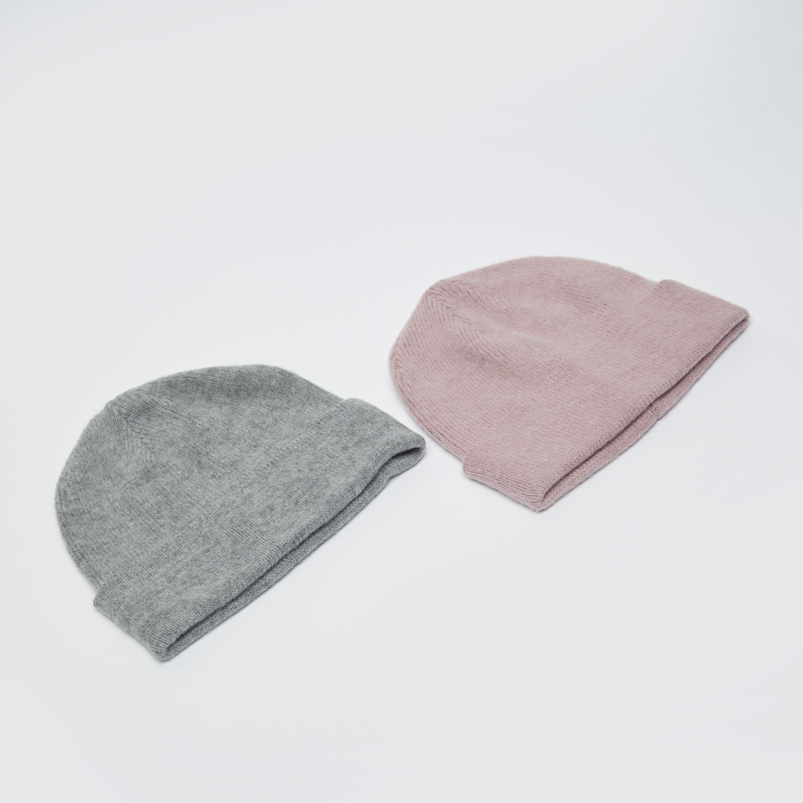 Set of 2 - Textured Beanie Cap with Cuffed Hem