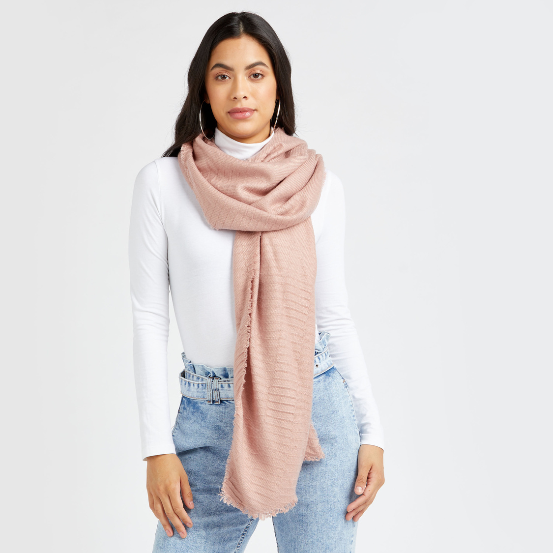 Textured Scarf with Frayed Detail
