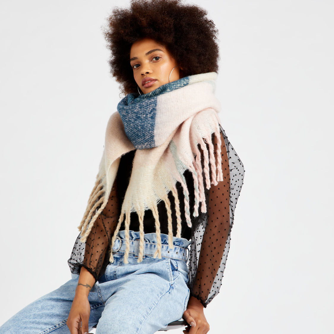 Checked Scarf with Fringes