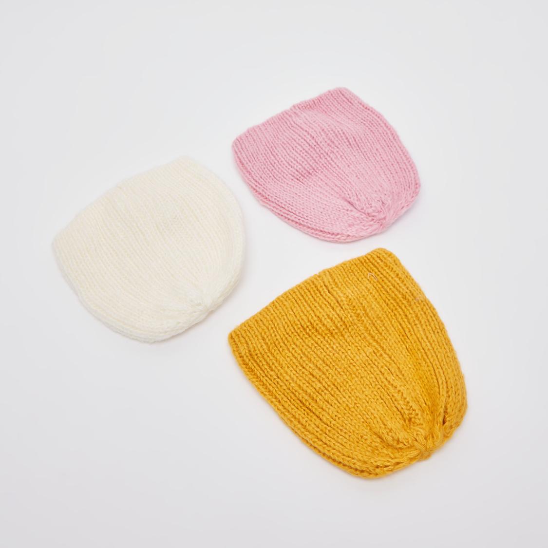 قبعة بيني بارزة الملمس بزخرفة فيونكة - طقم من 3 قطعتين
