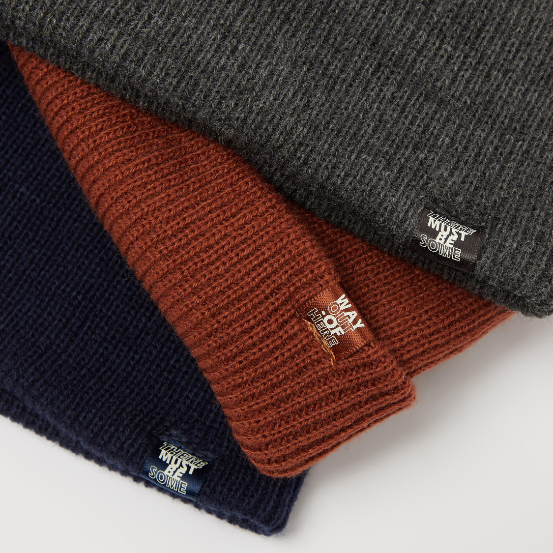 Set of 3 - Textured Beanie Caps