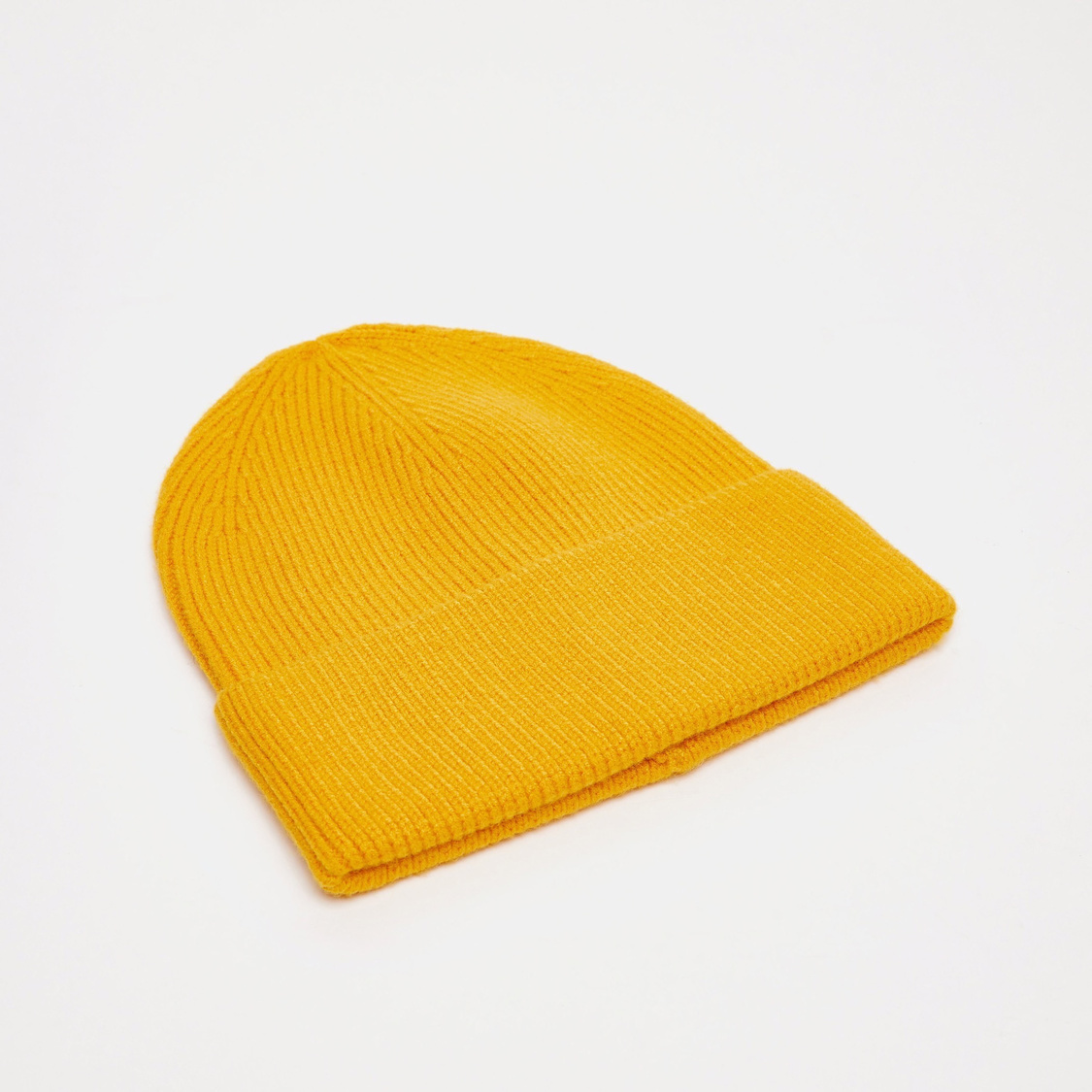 Textured Beanie Cap with Cuffed Hem