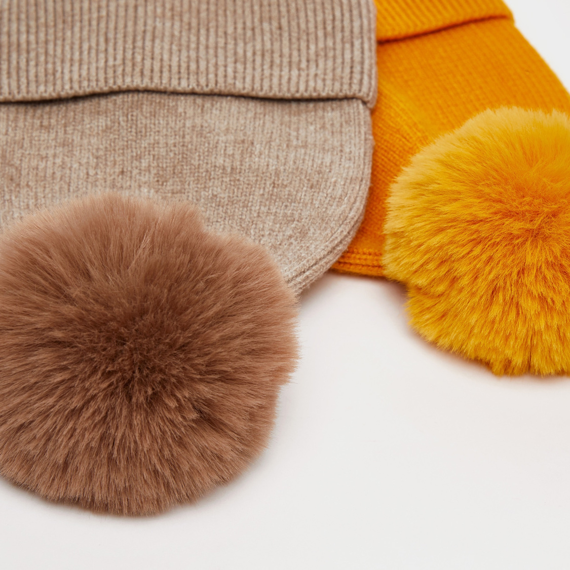 Set of 2 - Textured Beanie Cap with Pom Pom Detail