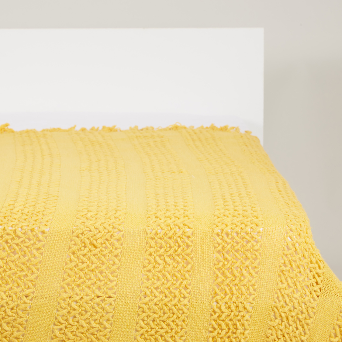 Textured Bed Throw with Fringes - 152x127 cms