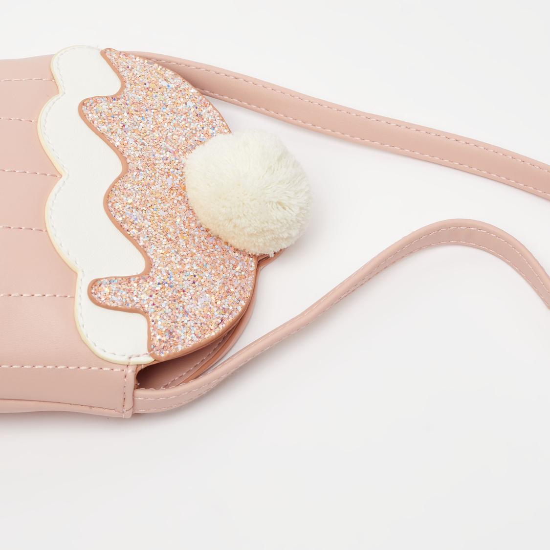 Embellished Crossbody Bag with Pom-Pom Accent
