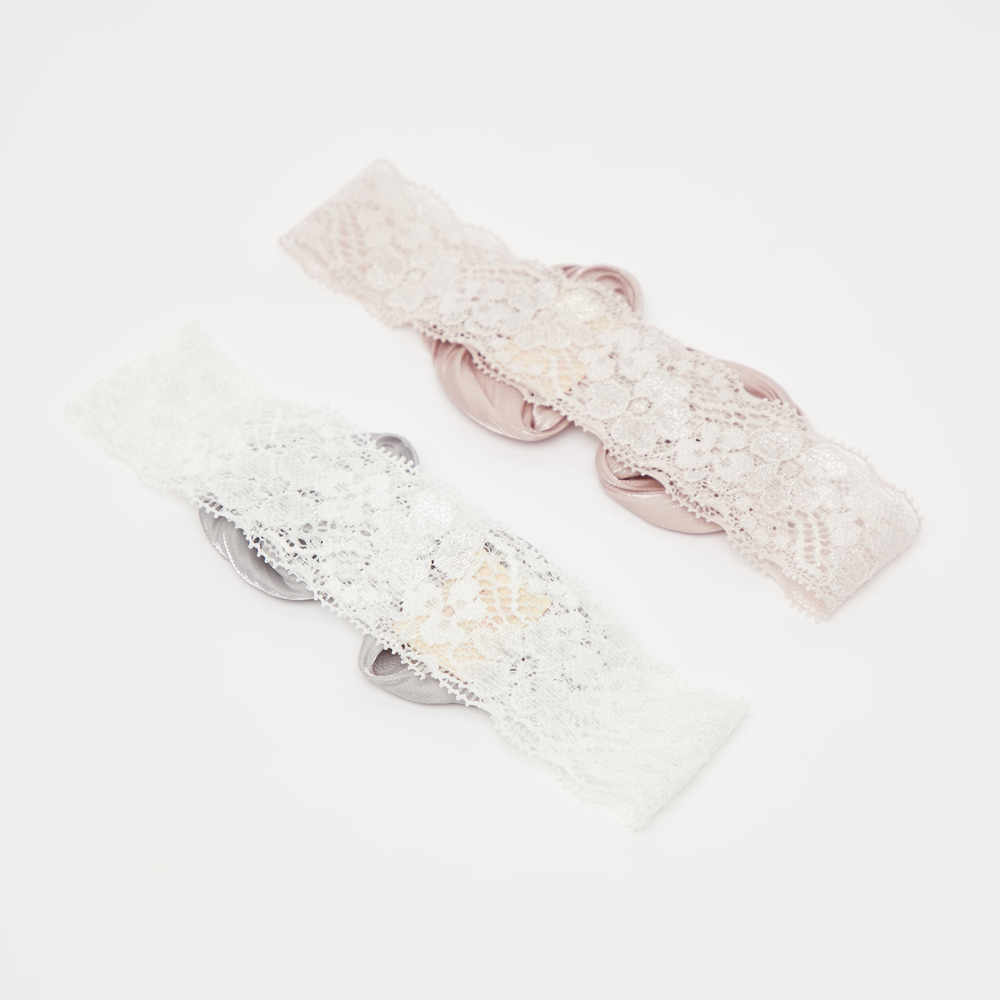 Set of 2 - Lace Detail Hair Bands with Bow Applique