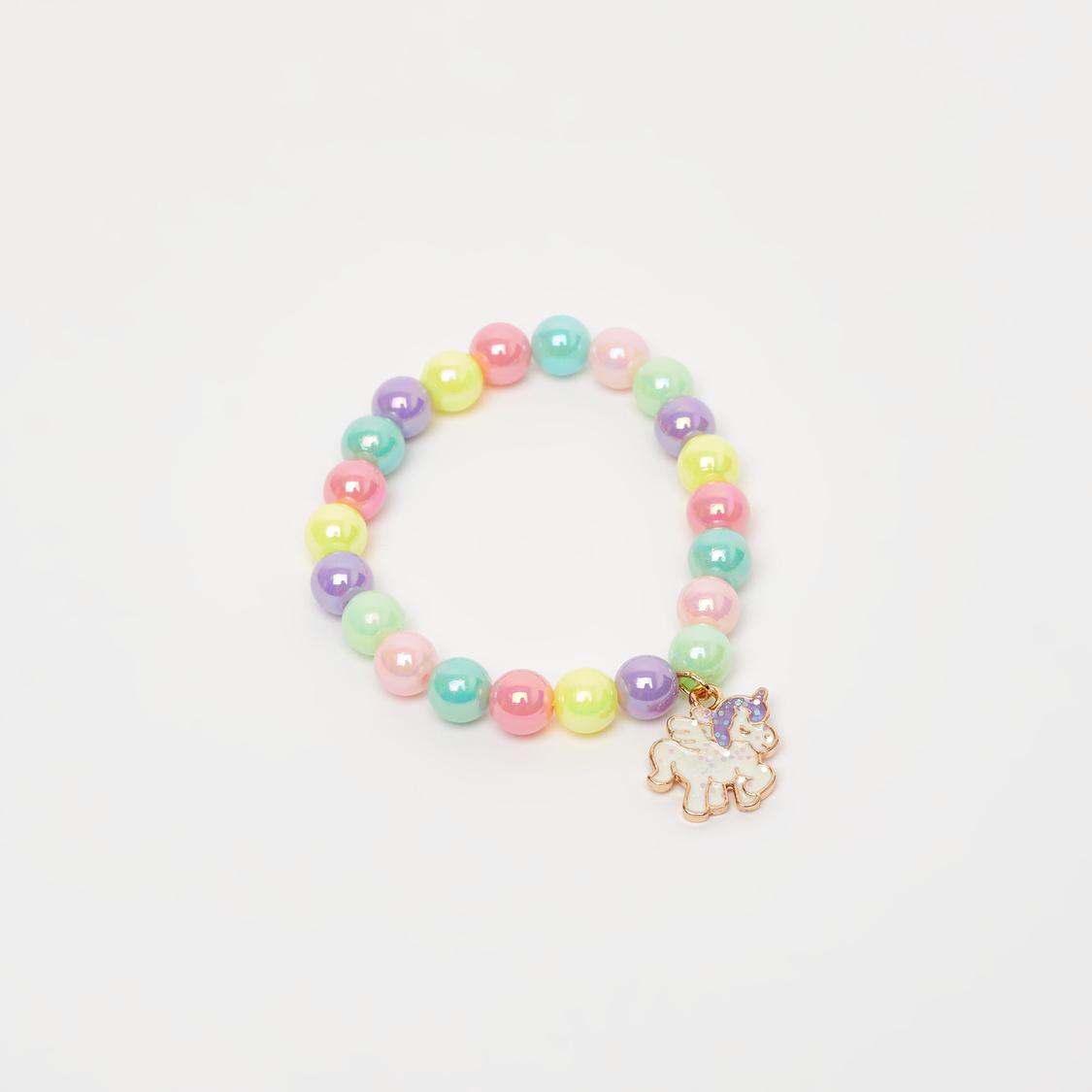 Beaded Necklace and Bracelet Set with Unicorn Pendants