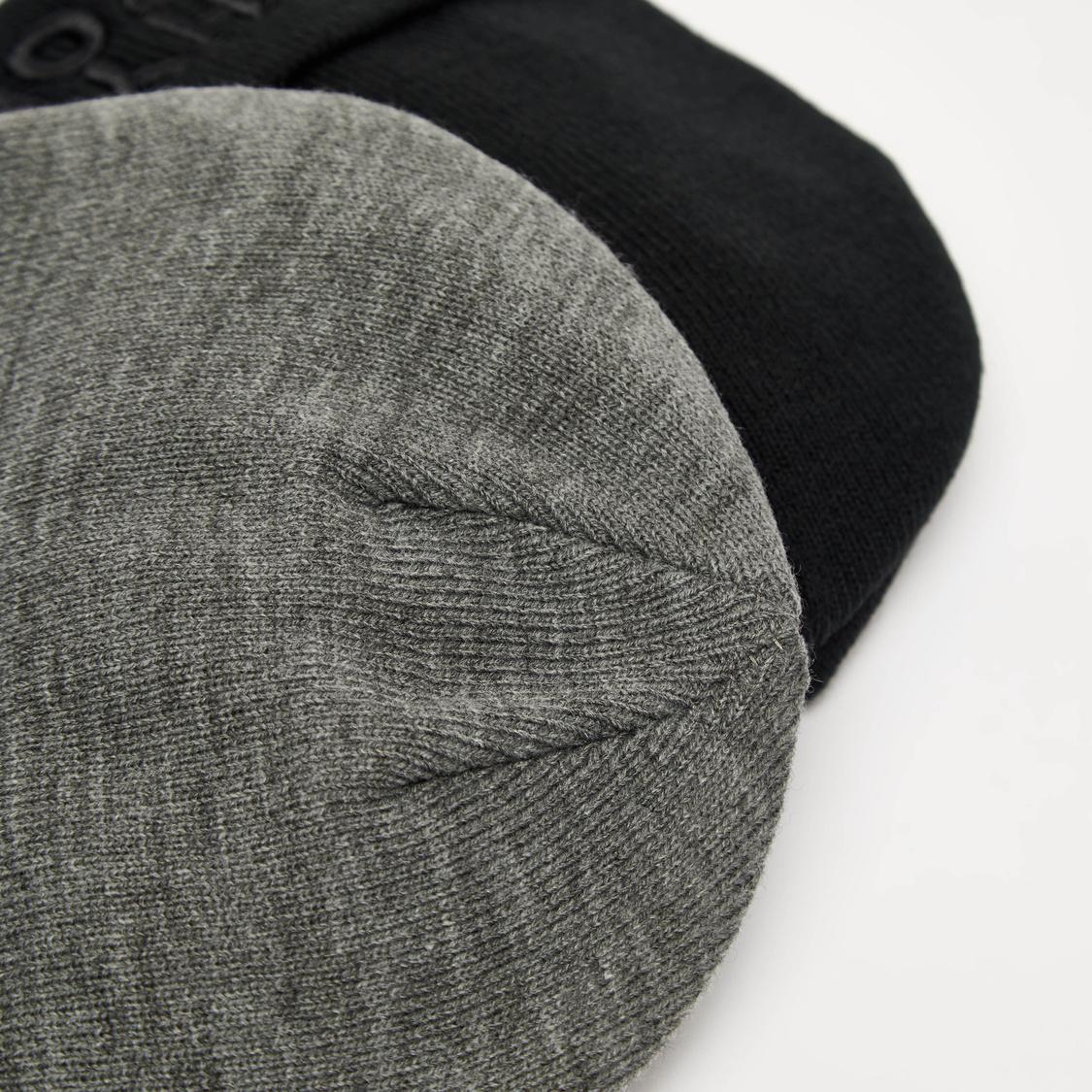 Set of 2 - Beanie Caps with Upturned Hem