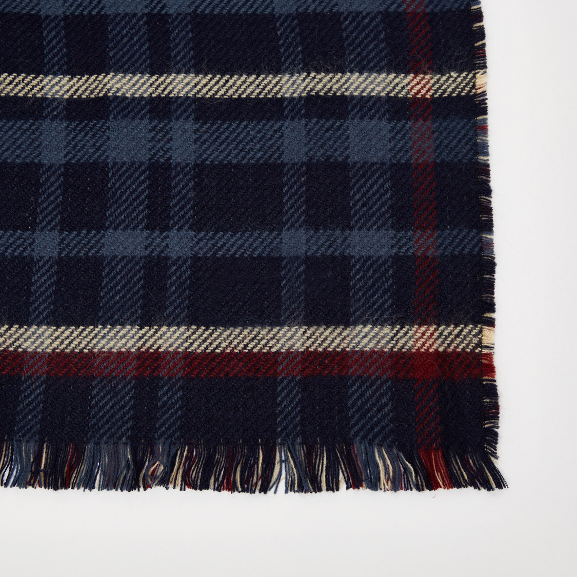 Checked Scarf with Fringe Detail