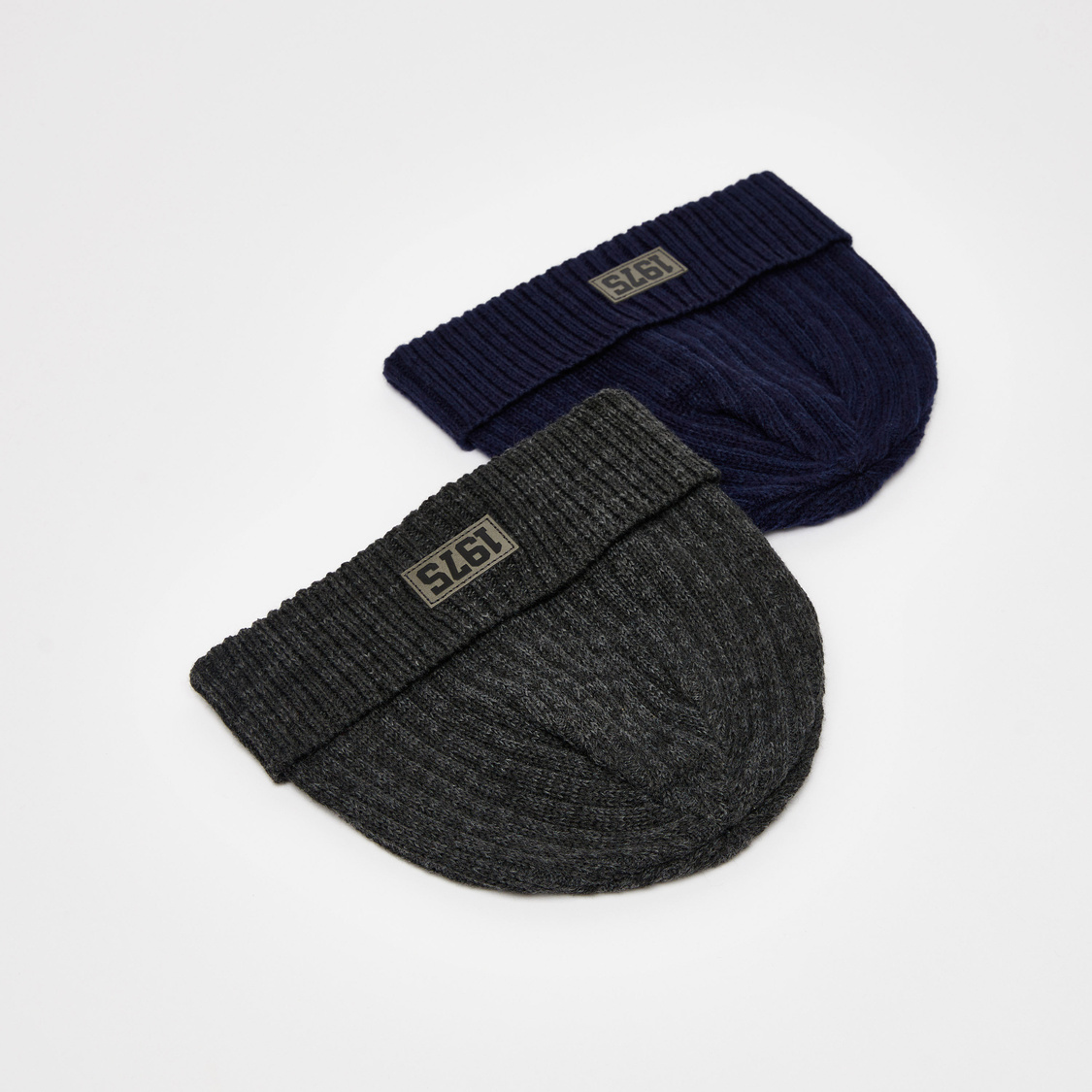 Set of 2 - Solid Beanie Caps with Ribbed Hem