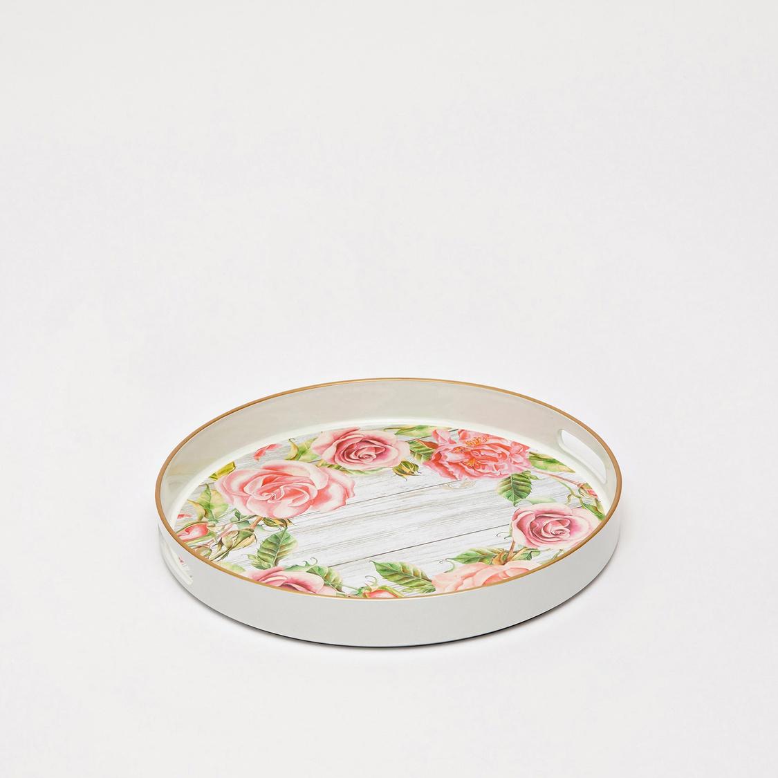 Floral Print Circular Tray with Cutout Handles