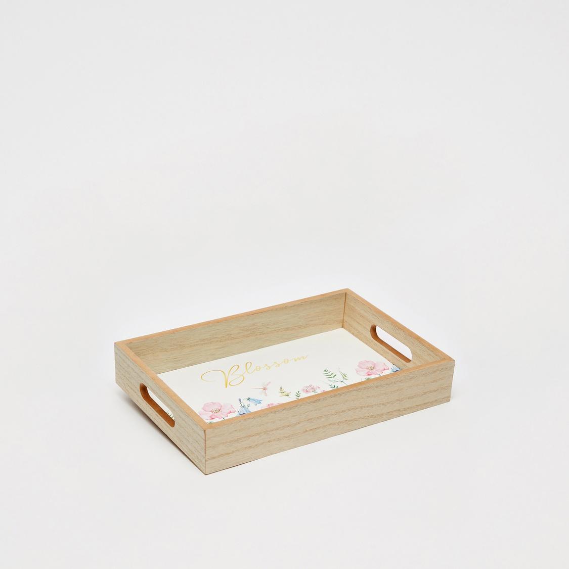 Printed Rectangular Wooden Tray - 30x20x5 cms