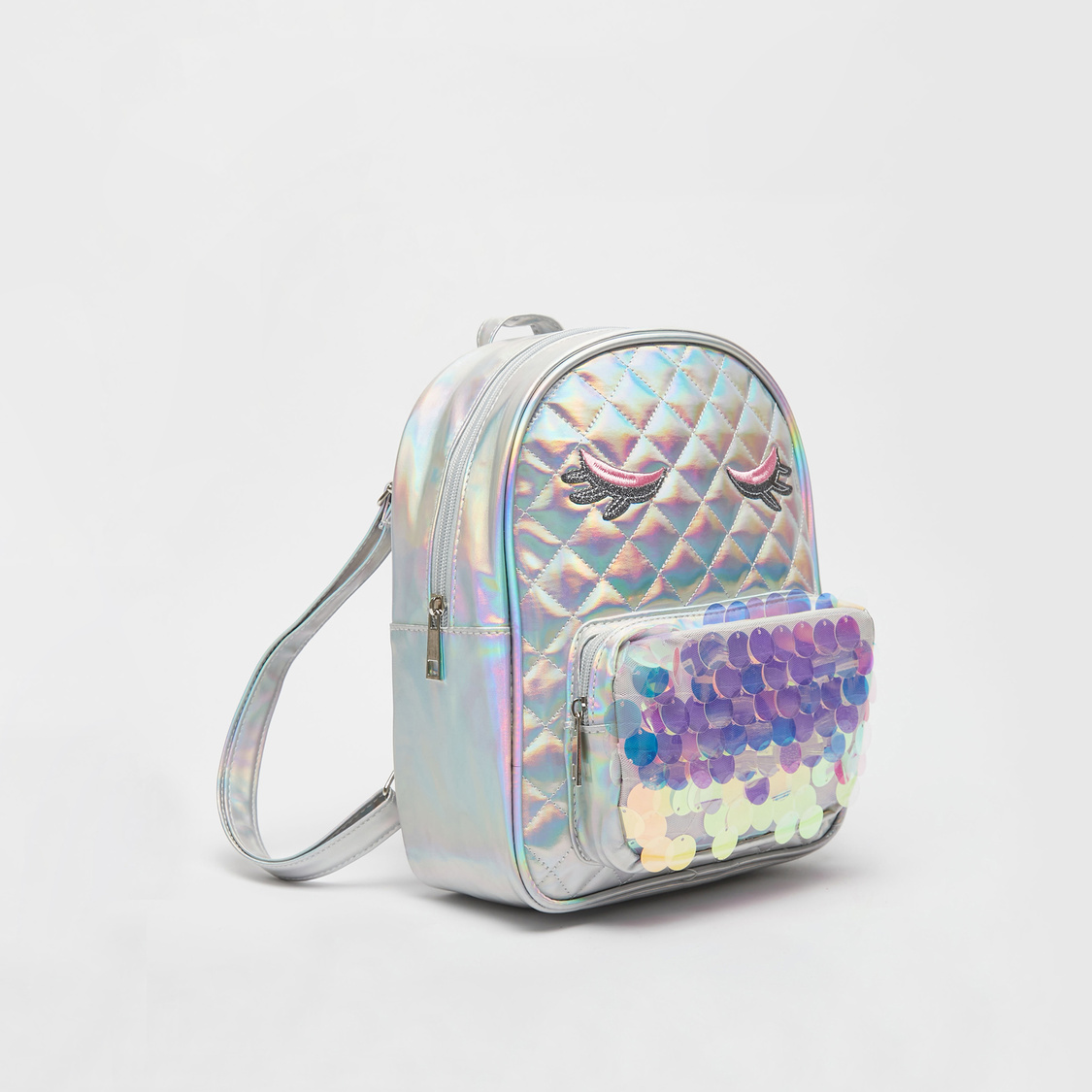 Holographic Quilted Backpack with Sequin Embellished Pocket