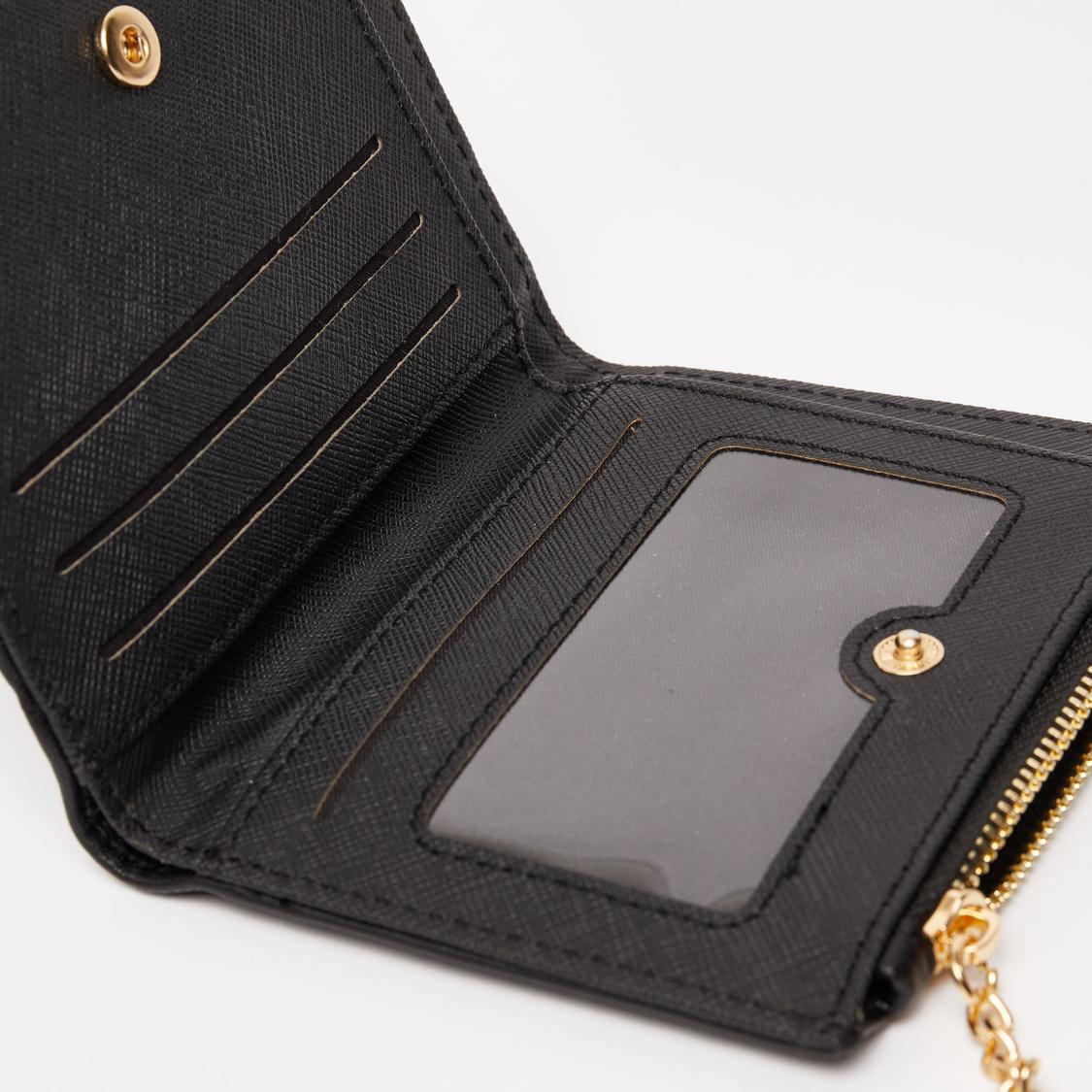 محفظة مبطنة بطية ثنائية وزر إغلاق