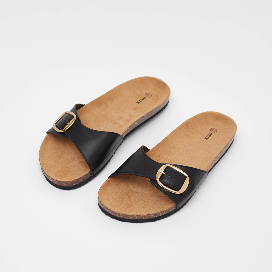 Solid Slip-On Sandals with Buckle Detail